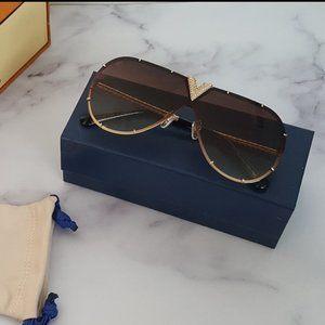 NEW! Louis Vuitton Drive Strass Sunglasses Tan